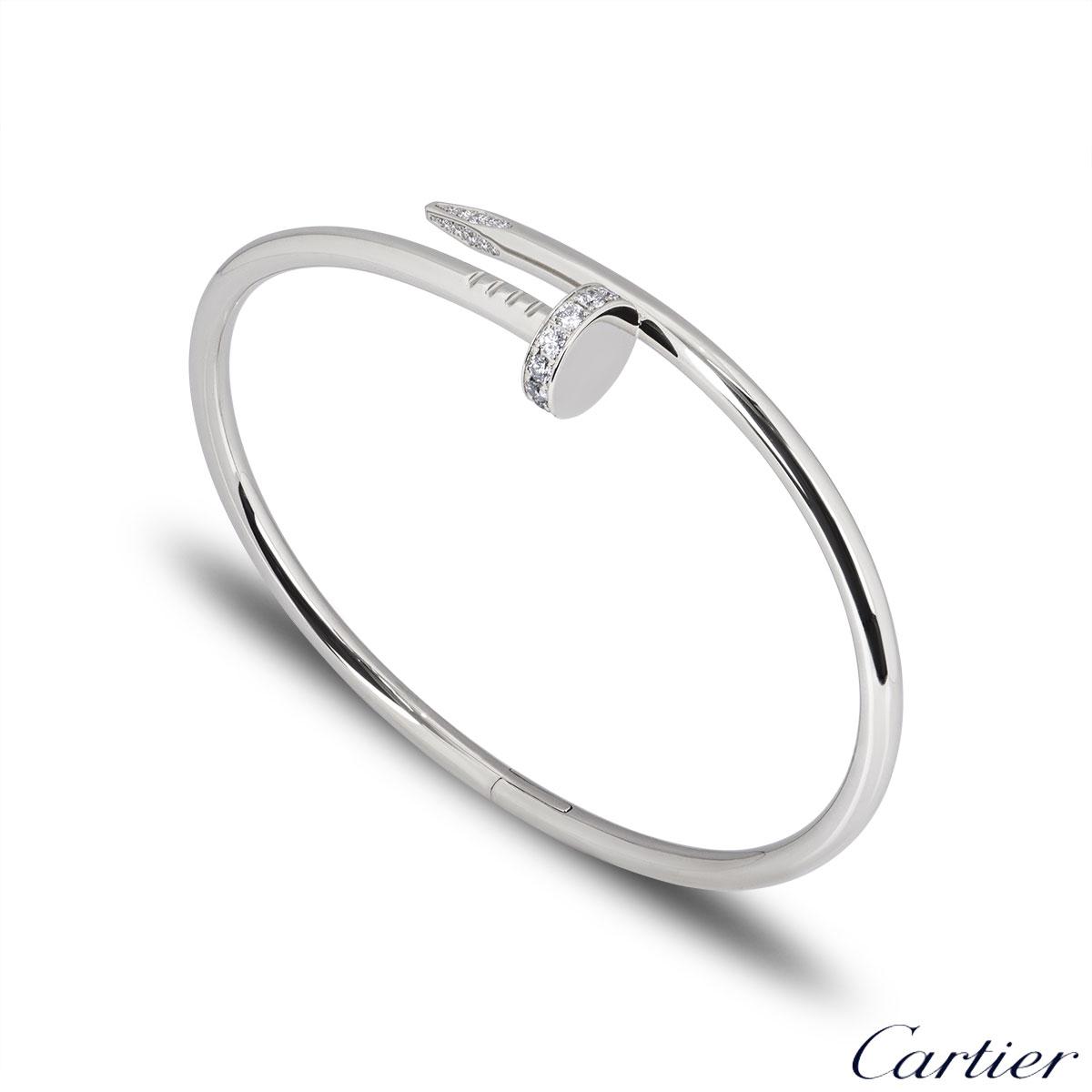 Cartier White Gold Diamond Juste Un Clou Bracelet Size 20 B6048720